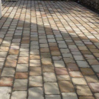 Terrasse en pavés grès chez un particulier à Etercy, 74150